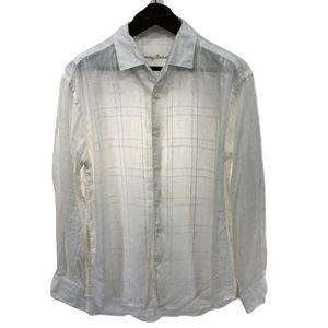 TOMMY BAHAMA L Linen Solid White Large Check